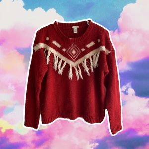 FOREVER 21 WOMENS RED AND WHITE KNIT SWEATER